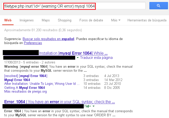 Google Hacking - SQL Injection